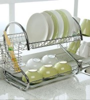 2 Tiers Kitchen Dish Cup Drying Rack-2019